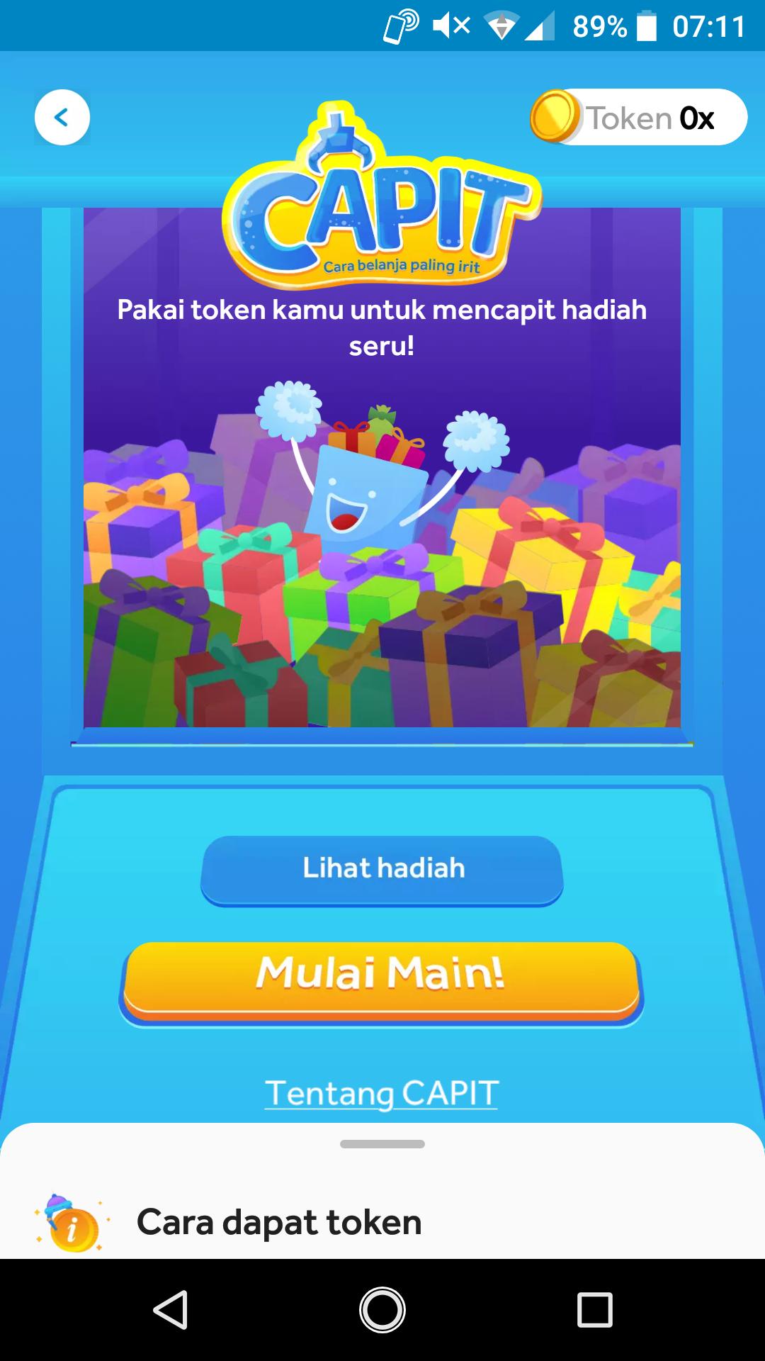 Wahana game capit Harbolnas di aplikasi Blibli.com