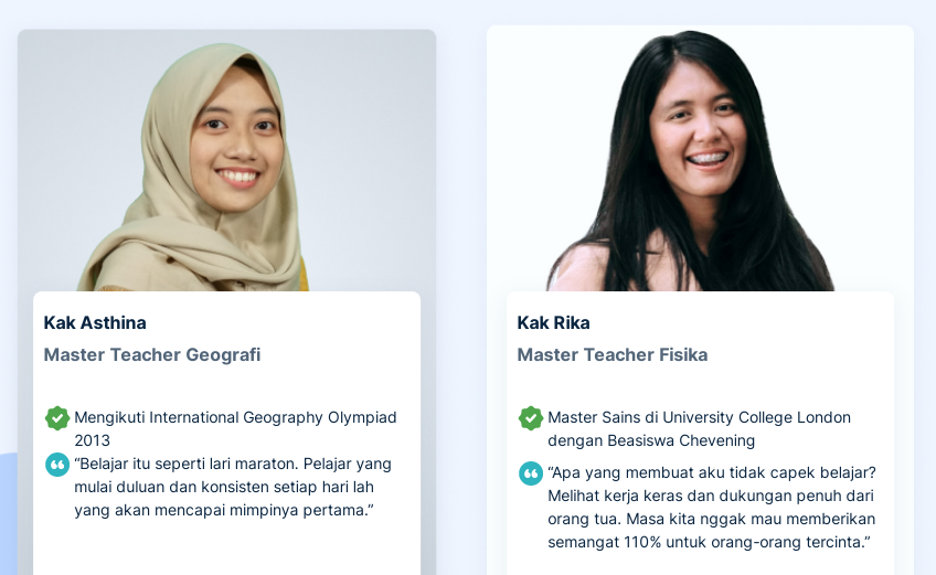 Dukungan dari guru-guru terbaik